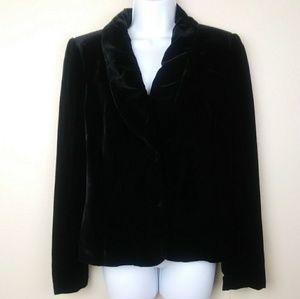 NWT Alfani Silk Velvet Blazer Ruffle Front Size 8